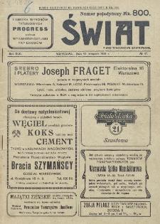Świat : pismo tygodniowe ilustrowane poświęcone życiu społecznemu, literaturze i sztuce. R. 17 (1922), nr 47 (25 listopada)