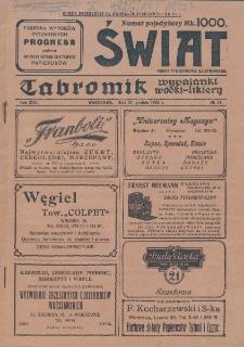 Świat : pismo tygodniowe ilustrowane poświęcone życiu społecznemu, literaturze i sztuce. R. 17 (1922), nr 51 (23 grudnia)