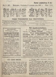 Nowe Życie : tygodnik Chrześcijańskiego Związku Demokratycznego w Grodnie. R. 1=4, nr 31=39 2 października (1921)