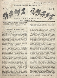 Nowe Życie : tygodnik Chrześcijańskiego Związku Demokratycznego w Grodnie. R. 2, nr 32 (13 sierpnia 1922)