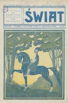 Świat : pismo tygodniowe ilustrowane poświęcone życiu społecznemu, literaturze i sztuce. R. 20 (1925), nr 40 (3 października)