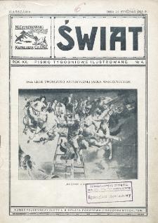 Świat : pismo tygodniowe ilustrowane poświęcone życiu społecznemu, literaturze i sztuce. R. 19 (1924), nr 4 (24 stycznia)