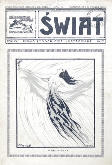 Świat : pismo tygodniowe ilustrowane poświęcone życiu społecznemu, literaturze i sztuce. R. 20 (1925), nr 17 (25 kwietnia)