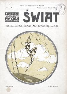 Świat : pismo tygodniowe ilustrowane poświęcone życiu społecznemu, literaturze i sztuce. R. 20 (1925), nr 18 (2 maja)