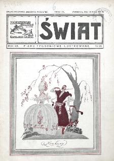 Świat : pismo tygodniowe ilustrowane poświęcone życiu społecznemu, literaturze i sztuce. R. 20 (1925), nr 21 (23 maja)