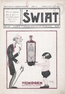 Świat : pismo tygodniowe ilustrowane poświęcone życiu społecznemu, literaturze i sztuce. R. 20 (1925), nr 30 (25 lipca)