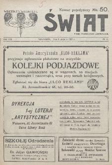 Świat : pismo tygodniowe ilustrowane poświęcone życiu społecznemu, literaturze i sztuce. R. 16 (1921), nr 32 (6 sierpnia)