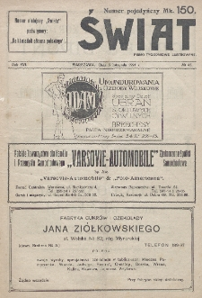 Świat : pismo tygodniowe ilustrowane poświęcone życiu społecznemu, literaturze i sztuce. R. 16 (1921), nr 45 (5 listopada)nr 4