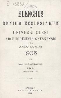 Elenchus Omnium Ecclesiarum et Universi Cleri Archidioecesis Gnesnensis pro Anno Domini 1905