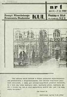 KUL-ier : Zeszyt Niezależnego Zrzeszenia Studentów. Nr 1 (30 Listopada - 07 Grudnia 1980)