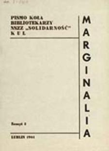 """Marginalia : pismo Koła Bibliotekarzy NSZZ """"Solidarność"""" KUL / [red. Cezary Listowski, Tadeusz Madała]"""