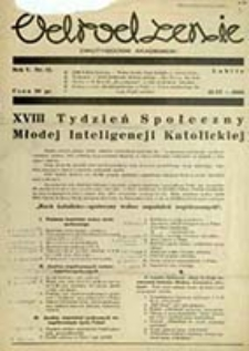 Odrodzenie : czasopismo / [red. Stow. Kat. Młodz. Akad. Odrodzenie Lublin-Uniwersytet]