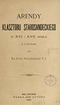 Arendy klasztoru starosandeckiego w XVI i XVII wieku / przez Jana Sygańskiego.