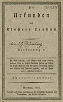 Die Urkunden des Klosters Leubus. Lfg. 1 / [von J. G. Büsching]